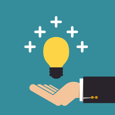 Hand with ideas plus, Business idea Vector