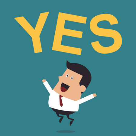 Young Businessman Jumping With the Word  Yes , Business Concept