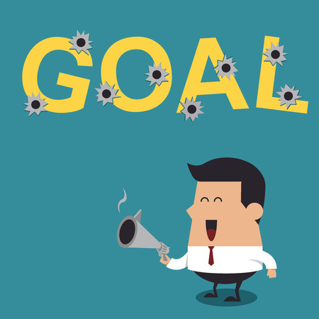 Businessman Shooting Gun With the Word  Goal , Business Concept