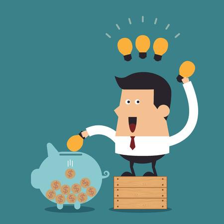 Young businessman putting light bulb into a piggy bank, Business concept Vector