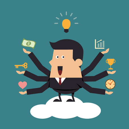 Businessman with many hands on cloud, Business concept