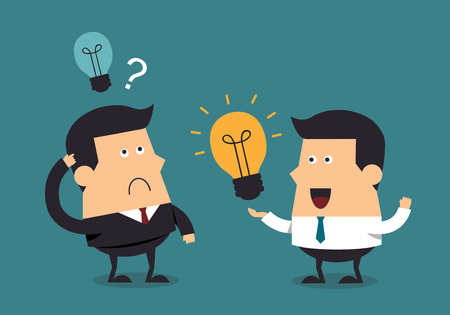 青年実業家がボス、ビジネス コンセプトに電球アイデアを与える