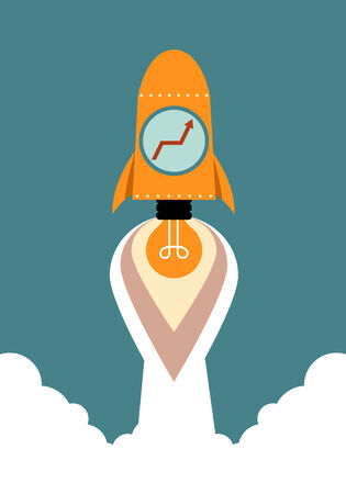 Growing graph with idea rocket, Business concept Illusztráció