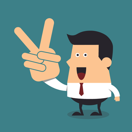 Young businessman with two fingers up, Business concept