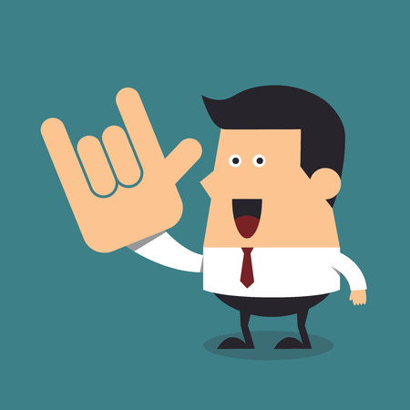 i love you: Young businessman show love hand sign, Business concept Illustration
