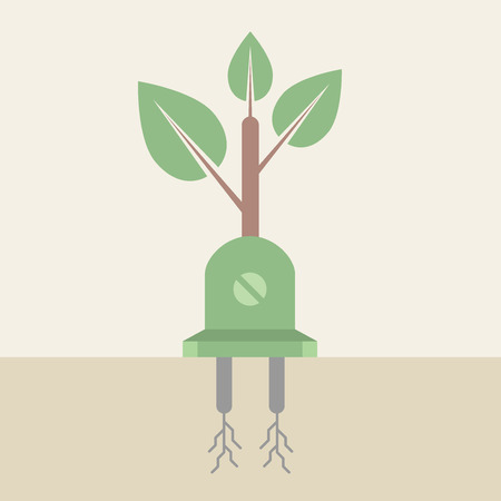 Illustration of electricity plug and leaves, Idea concept Vector