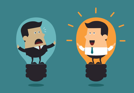 Boss and young businessman with big light bulbs, Business concept