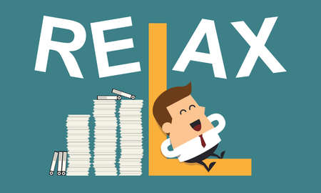 Businessman Relaxing With the Word Relax, Business concept