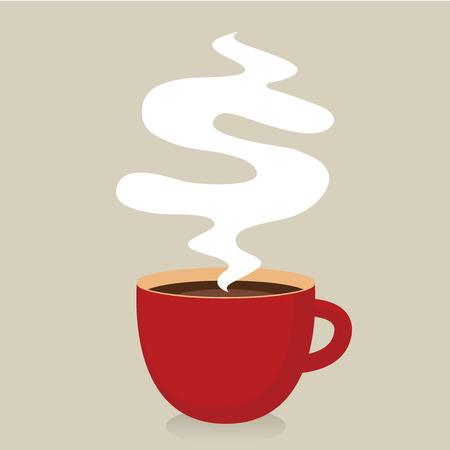 tazas de cafe: Red taza de caf� con el humo, el concepto de Idea Vectores