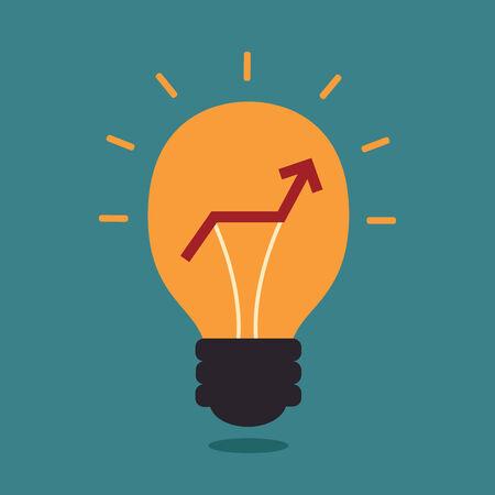 Light bulb with graph up, Idea concept Illusztráció
