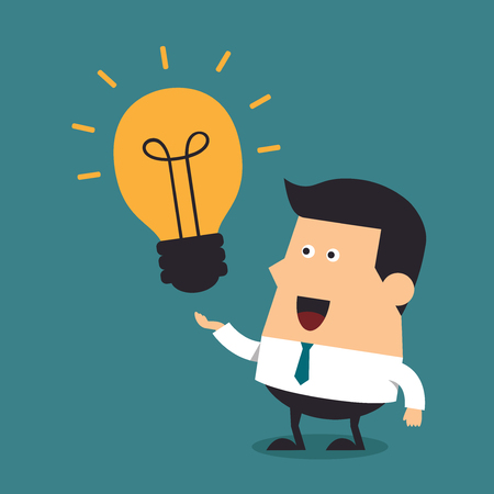 Young businessman with light bulbs, Business concept