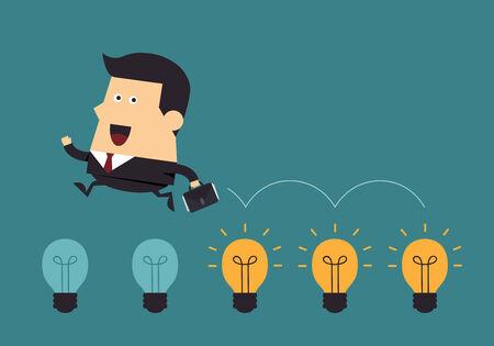 Businessman jump on light bulbs, Business concept Illusztráció