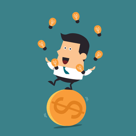 Young businessman balancing on a big gold dollar coin Ilustracja