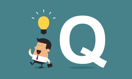 Businessman get the idea with the word Q, Business concept Ilustracja