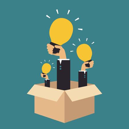 Hands holding light bulbs, Business idea Vector
