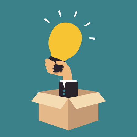thinking outside the box: Hand holding light bulb, Business idea Illustration
