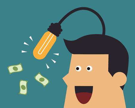 Businessman fishing for money by light bulb idea, business idea Illusztráció