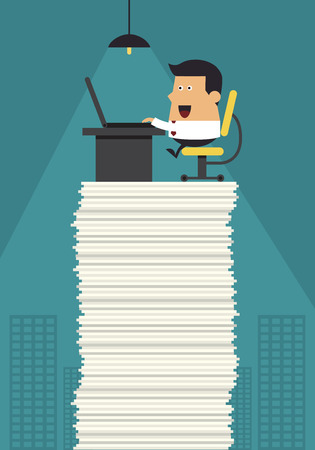trabajando duro: Joven empresario trabajan duro en la oficina, concepto de negocio