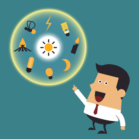 Young businessman with many ideas, Business idea Ilustracja
