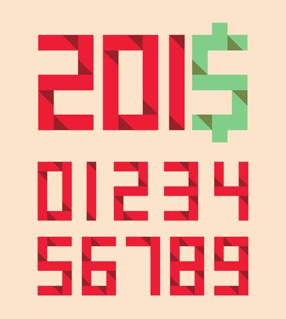 Origami Numbers in Retro Style Idea Concept