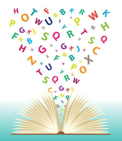 Opened book with flying letters, Vector idea concept Ilustracja