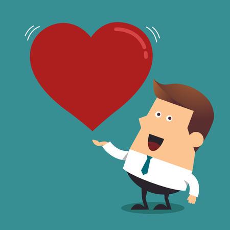 Young businessman with big red heart, Business concept Illusztráció