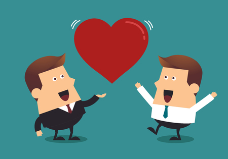 Young businessman and boss with big red heart, Business concept