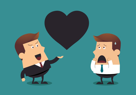 unfriendly: Young businessman and boss with big black heart, Business concept Illustration