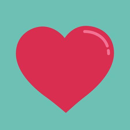 Pink heart on aqua color background, Vector illustration.