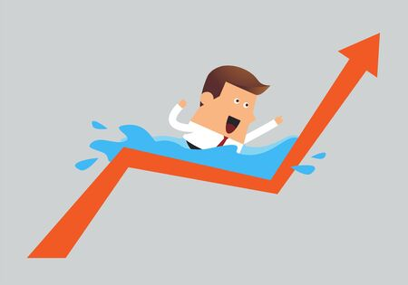 tried: Young businessman swimming with graph up, Business idea