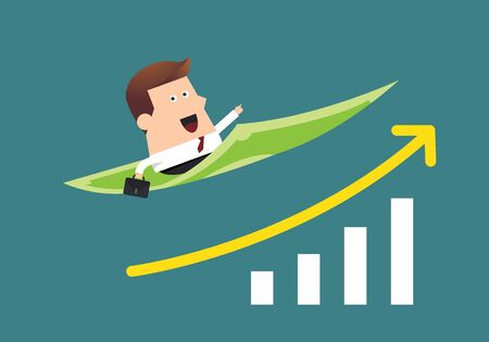 flying money: Young businessman on flying money with graph up, Business idea Illustration