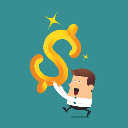 Young businessman with big gold dollar sign, Business concept Ilustracja