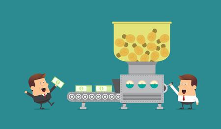青年実業家とマシン、ビジネスのアイデアを作るお金とボス