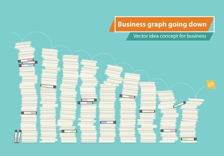 Business graph going down, Vector idea concept for business report design.