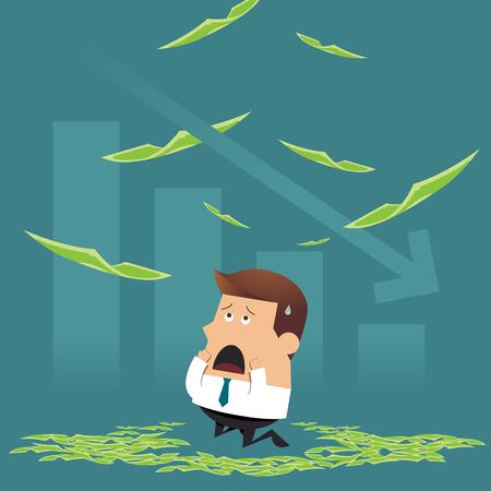 Sad businessman sitting under money rain with falling graph, Business idea concept Illusztráció