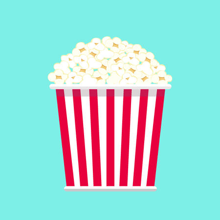 Illustration of big popcorn package isolated on aqua color background, Fast food clipart. Vector for film or cinema design element.
