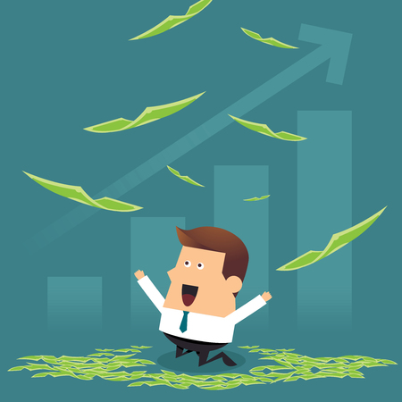 Happy young businessman on flying money with growing graph, Business idea concept