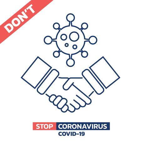 Illustration of don't shake hands in Coronavirus COVID-19 crisis isolated on white background, Vector design element.
