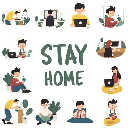 Working at home, concept illustration. Freelance people working on laptops and computers from home. Flat style vector illustration of character working from home.