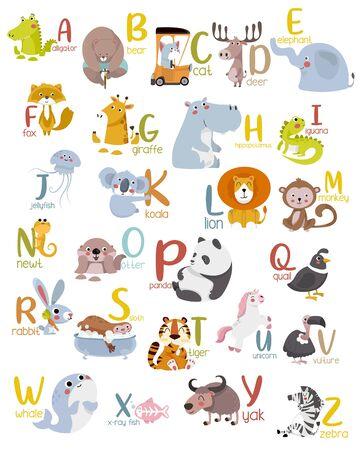 Graphique de l'alphabet animal A à Z. Alphabet zoo vectoriel mignon avec des animaux en style cartoon. Vecteurs