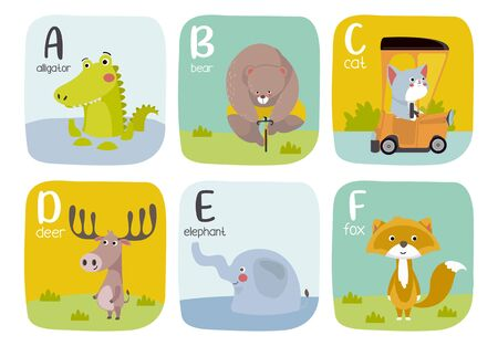 Vector illustration. Animal alphabet graphic A to F. Alligator, bear, cat, deer, elephant, fox.
