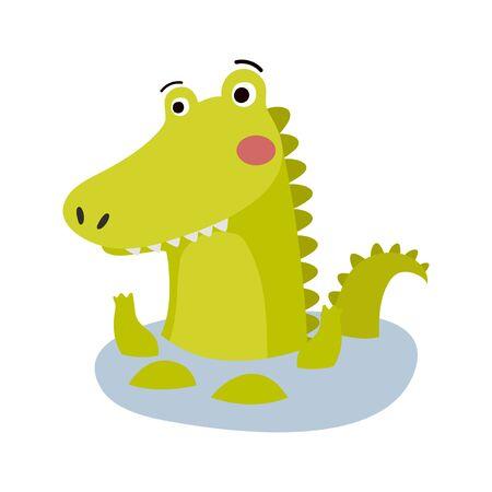 Cute Animal Vector illustration.Fun zoo. Illustration of cute alligator, crocodile. Vettoriali
