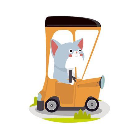 Cute Animal Vector illustration.Cute cat is driving a orange car - vector illustration
