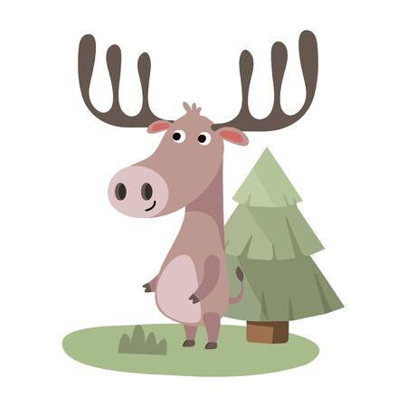 Cute Animal Vector illustration. Fun zoo. Illustration of cute Deer