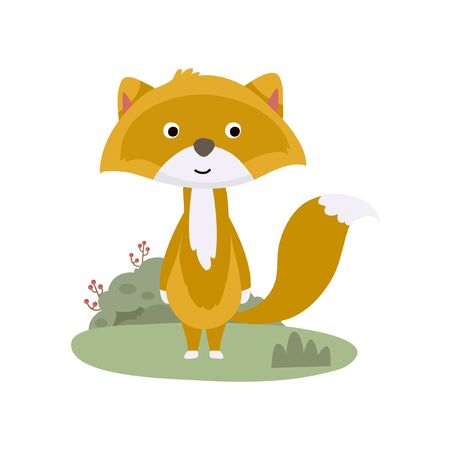 Cute Animal Vector illustration. Fun zoo. Illustration of cute wolf, fox.