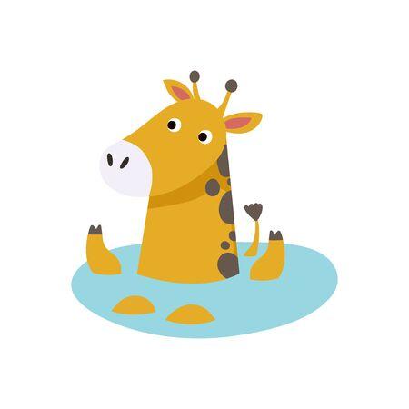 Cute Animal Vector illustration. Fun zoo. Illustration of cute giraffe.