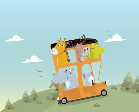 Cute animals traveling by bus. Illustration