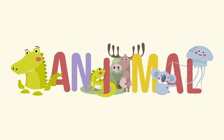Animal typography vector design for greeting cards and poster with crocodile, iguana, deer, koala bear and jellyfish.Cute simple vector animal.