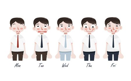 Funny Cartoon Character. Office Worker's Emotions.Cute character of businessman expressing feeling and emotion to Monday and Friday in different gesture, feel bad and happy. Flat design.
