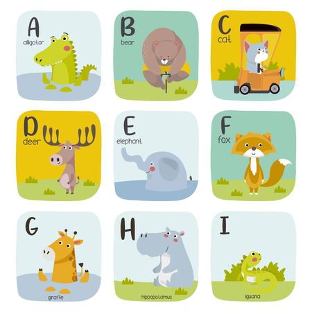 Animal alphabet graphic A to I. Cute vector Zoo alphabet with animals in cartoon style. Illustration